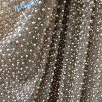 african glued glitter tulle mesh fabric with beads glued glitter sequins lace fabric for party dress