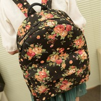 Retro Flower Black Backpack