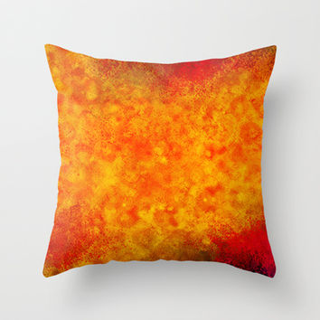 Hollowfield Throw Pillow by Gréta Thórsdóttir  #lava #fissure #lavafield #hole #hollow #coral #hot #livingroom