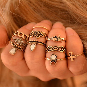 Bohemian Midi Ring Set Vintage Punk Elephant Flowers Ring Knuckle Rings for Women