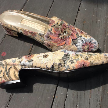 SALE Vintage Tapestry Sling Backs