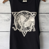 Elephant Tribal Print Muscle T-Shirt
