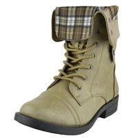 Womens Mid Calf Boots Fold Over Cuff Lace Up Combat Shoes Taupe SZ