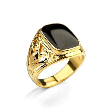 Gold Plated Men's Ring With Black Ruby 3 Colors FREE SHIPPING!!!!