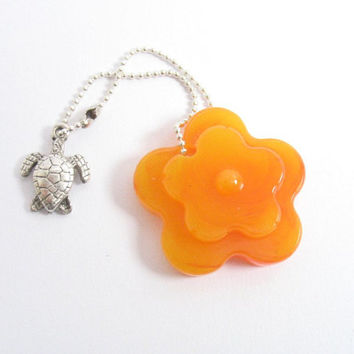 Yellow orange flower key chain and turtle silver tag , resin tag silver chain , silver  turtle accessories , daisy floral charm bracelet