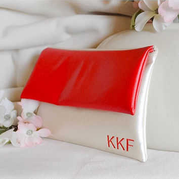 Red leather clutch - monogram clutch purse - bridesmaid gift - wedding snap handbag - cream clutch - gift for her - purse