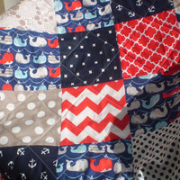 Handmade baby quilt,Baby quilt,Nautical newborn crib quilt,baby boy bedding, baby girl quilt,navy,grey,red,whales,anchors,play mat,Seaworthy