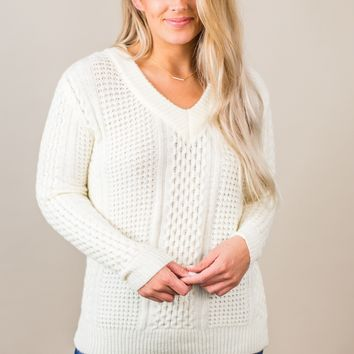 Come With Me Sweater- Ivory