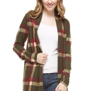 Blustery Day Plaid Cardigan - Olive