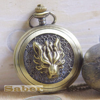 On Sell- Victorian Retro Bronze Wolf Pocket Watch Necklace Y129