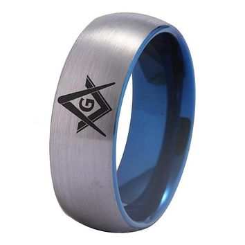 Tungsten Ring Silver With Blue Tungsten Masonic Ring