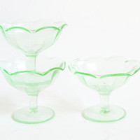 Vintage 1930s Depression Glass Sherbert Cups, Fluted Panel Green Uranium Ice Cream Glasses (glows under blacklight)