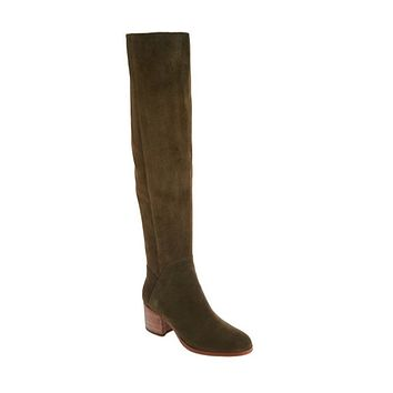 Marc Fisher Elaine Wide Calf Olive Suede Over-the-Knee Boots