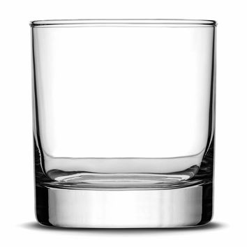Custom Etched Whiskey Glass, Sand Carved 10 oz Rocks Glasses, Made in USA