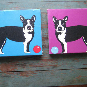 Pair of Purple & Turquoise Op Art Dog Pictures - Vintage Silk Screen Boston Terrier Pictures - Retro Purple/Blue Dog Art - Mod Dog Pictures