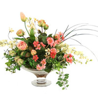 Summer Mix of Roses, Delphiniums, Tulip Buds in Glass