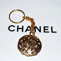 Authentic Chanel Vintage Puff CC Purse Charm Key Ring Rare