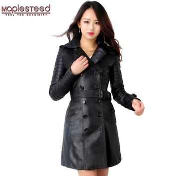 MAPLESTEED Women Leather Trench Ladies Long Coat Real Sheepskin Fashion Black Soft Slim Fit Female Windbreaker Winter Autumn 150
