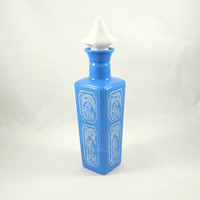 Vintage Jim Beam Blue Milk Glass Decanter