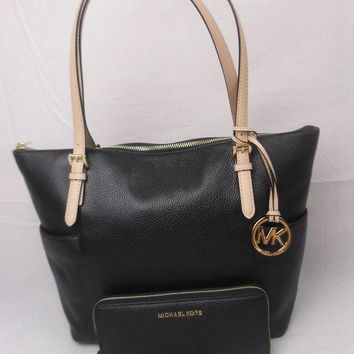 LMFOK9 MICHAEL KORS JET SET EW Jet Set East West ZIP BLACK LEATHER TOTE BAG MK + Wallet