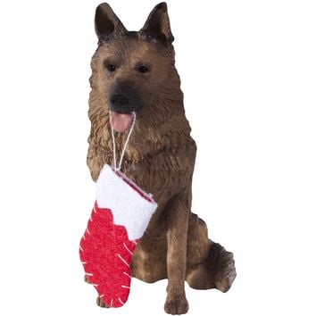 Sandicast Sitting German Shepherd w/ Stocking Christmas Dog Ornament