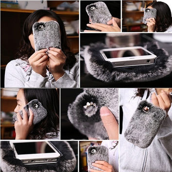 Black Soft REX Rabbit Fluffy Fur Back Cover Case for iphone 4 4s New = 1932266308