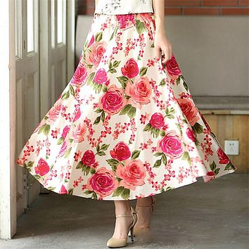 Fashion Printed Midi Skirt Women  Big Swing Long Skirt Ethnic Folk Custom Linen Long Skirts Ankle Length skirts