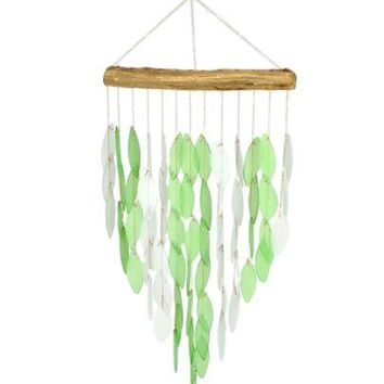 Green Waterfall Wind Chime Glass/Driftwood Ocean