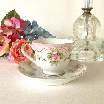 Vintage Halsey Fifth Avenue Demitasse cup saucer set, Occupied Japan pink mismatched shabby china porcelain Tea party set, floral roses