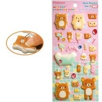 San-X Rilakkuma Thick Marshmallow Stickers with Jewels: Bathroom