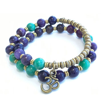 Lepidolite and Green Amazonite 'Acceptance and Love' 27 Bead Wrist Mala Bracelet