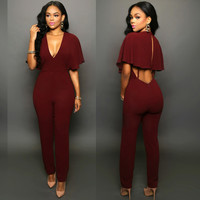 Wine Red V Neck Drape Cutout Back Jumpsuit
