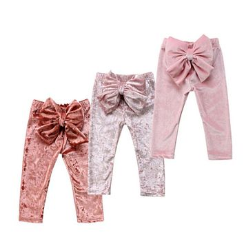 2018 Baby Clothing Toddler Kids Baby Girls Princess Velvet Bowknot Cute Bottoms Pants Leggings Patchwork Clothes