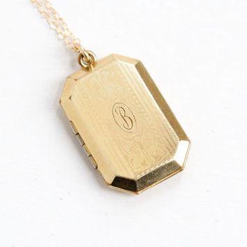 """Antique Art Deco Era 12k Gold Filled Monogrammed """"B"""" Locket Necklace - 1920s 1930s Initial Filigree Jewelry Hallmarked A&Z Chain Co."""
