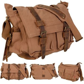 Men's Vintage Canvas Leather School Military Shoulder Messenger Bag Tan