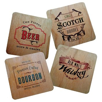 Vintage Style Wood Veneer Coasters for Bar or Men's Gift - Set of 4