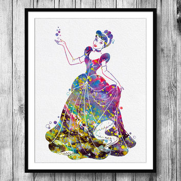 Instant Download Cinderella Disney Princess Watercolor Art Digital Printable JPEG Wall Art For Girls Art Wall Decor