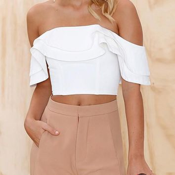 White Crop Ruffle Collar Elbow Sleeve Fashion T-Shirt