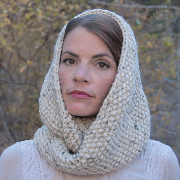 Chunky knit infinity scarf, circle scarf, cowl, hood, whear, natural beige with darker flecks