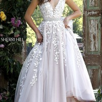 V-Neck Lace Open Back Long Prom Dress by Sherri Hill