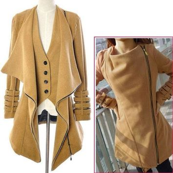 Women's Wool Long Winter Jacket Coat Outwear  7567