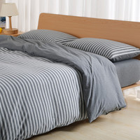 Bedroom On Sale Hot Deal Simple Design Stripes Cotton Knit Bedding Bedding Set [6451770054]