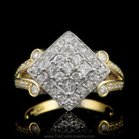 Unique Square Shaped 3/4cttw Diamond Cluster Ring in 14K Two-Toned Gold