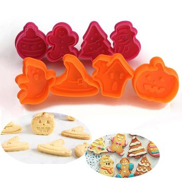 8pcs/set Halloween Christmas Cookie Cutters Cake Decorating Biscuit Confectionery Baking Bakeware