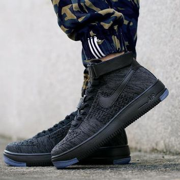 LMFON Nike Air Force 1 Flyknit Mid-High 817420-010 Black For Women Men Running Sport Casual Shoes Sneakers