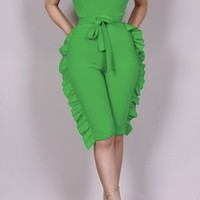 Tammy Strapless Green Ruffle Jumpsuit