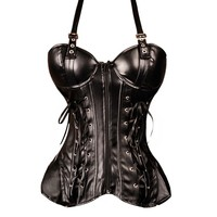 Black PVC Corset with straps