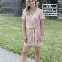 Eva Knot Front Dress, Nude