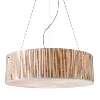 Modern Organics Five Light Pendant with Bamboo Stem Material in Polished Chrome