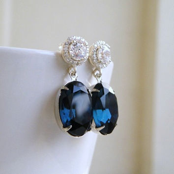 Sold - Sapphire Jewelry Wedding Jewelry Bridal Earrings Montana Navy Blue Oval Stone Silver Stud Post Estate Style Bridesmaids Jewelry